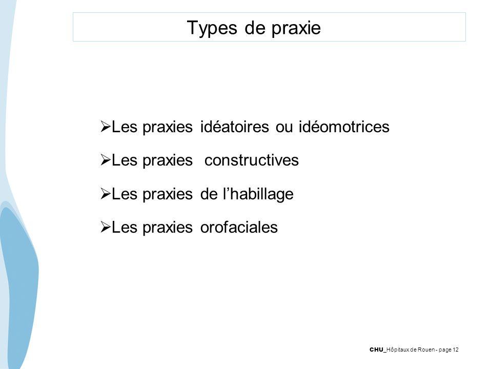 CHU _Hôpitaux de Rouen - page 12 Types de praxie Les praxies idéatoires ou idéomotrices Les praxies constructives Les praxies de lhabillage Les praxie