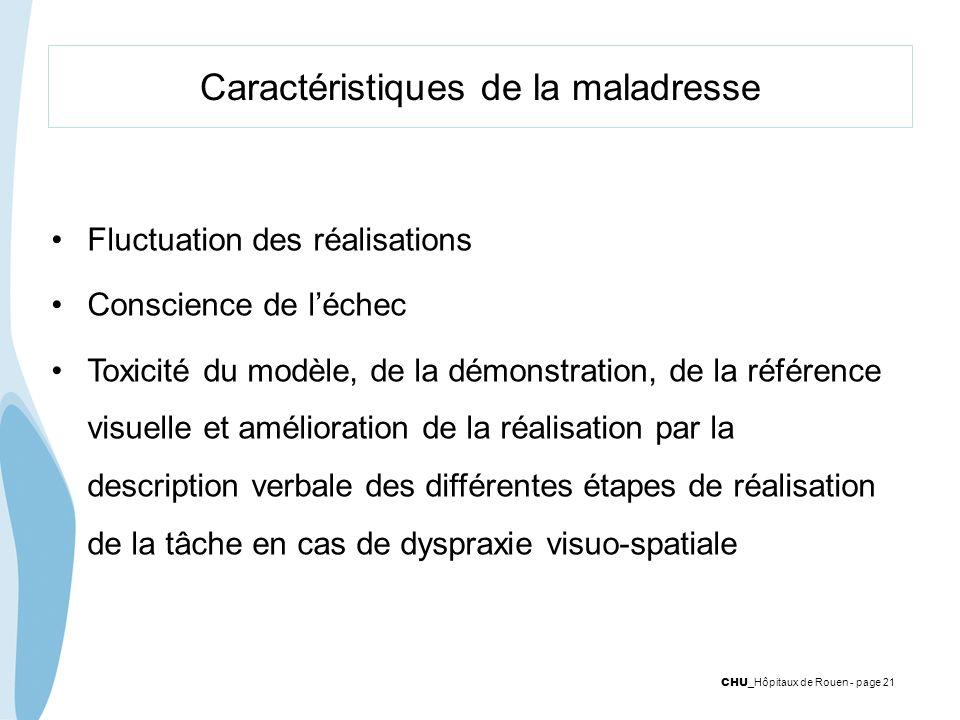 CHU _Hôpitaux de Rouen - page 21 Caractéristiques de la maladresse Fluctuation des réalisations Conscience de léchec Toxicité du modèle, de la démonst