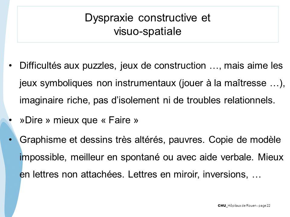 CHU _Hôpitaux de Rouen - page 22 Dyspraxie constructive et visuo-spatiale Difficultés aux puzzles, jeux de construction …, mais aime les jeux symboliq