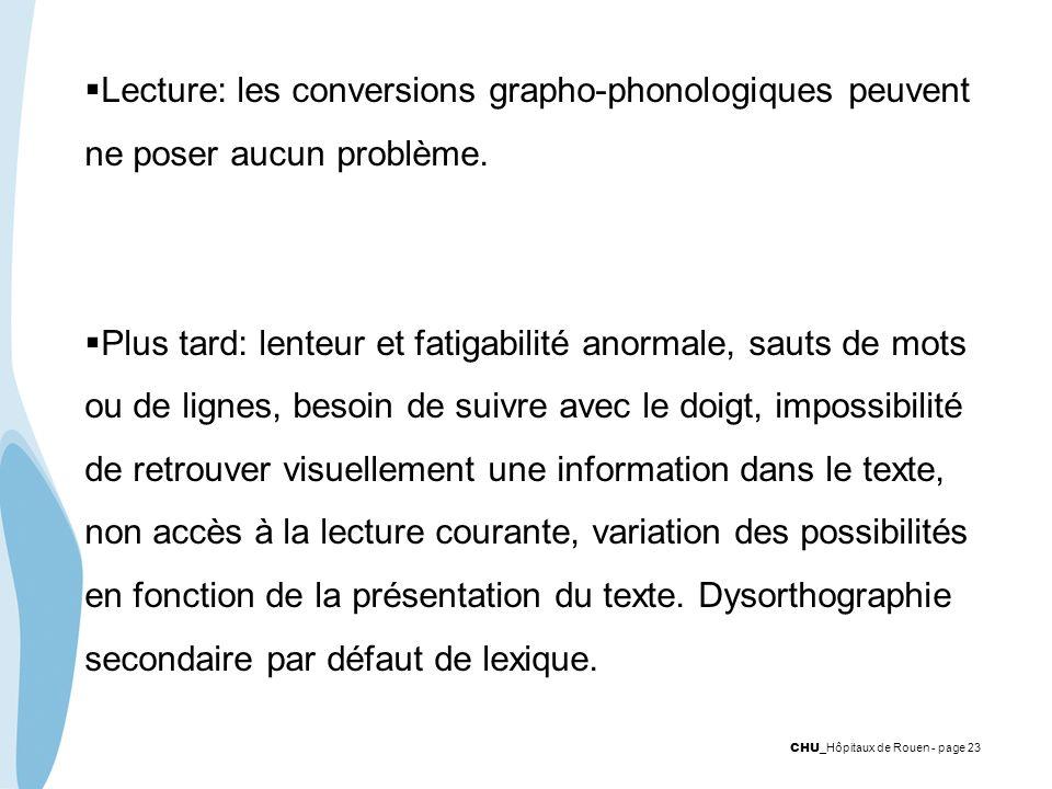 CHU _Hôpitaux de Rouen - page 23 Lecture: les conversions grapho-phonologiques peuvent ne poser aucun problème. Plus tard: lenteur et fatigabilité ano