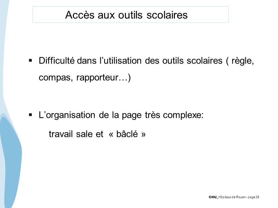 CHU _Hôpitaux de Rouen - page 25 Accès aux outils scolaires Difficulté dans lutilisation des outils scolaires ( règle, compas, rapporteur…) Lorganisat