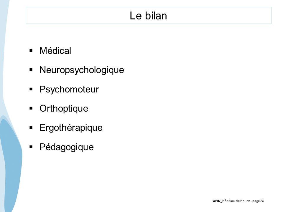 CHU _Hôpitaux de Rouen - page 26 Le bilan Médical Neuropsychologique Psychomoteur Orthoptique Ergothérapique Pédagogique
