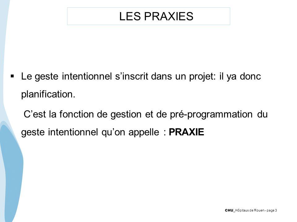 CHU _Hôpitaux de Rouen - page 3 LES PRAXIES Le geste intentionnel sinscrit dans un projet: il ya donc planification. Cest la fonction de gestion et de