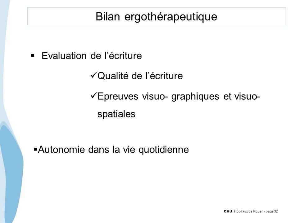 CHU _Hôpitaux de Rouen - page 32 Bilan ergothérapeutique Evaluation de lécriture Qualité de lécriture Epreuves visuo- graphiques et visuo- spatiales A