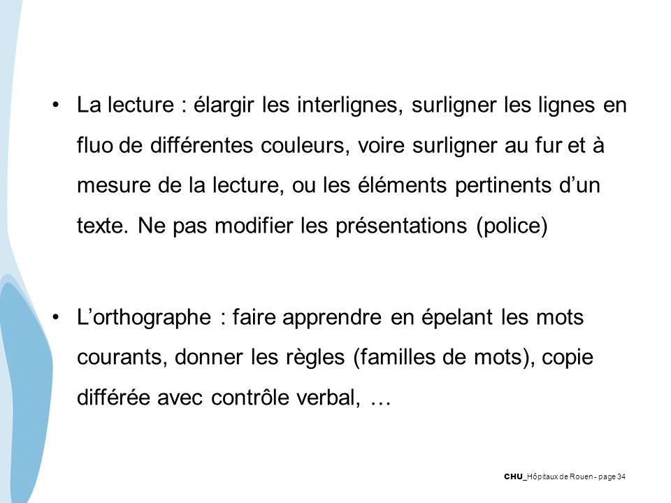 CHU _Hôpitaux de Rouen - page 34 La lecture : élargir les interlignes, surligner les lignes en fluo de différentes couleurs, voire surligner au fur et