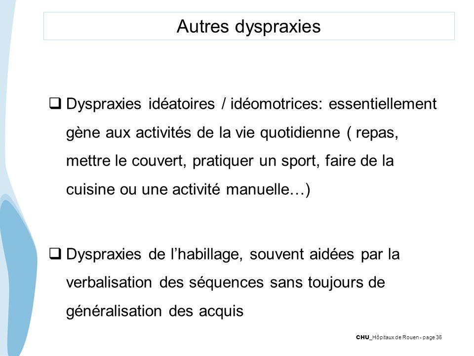CHU _Hôpitaux de Rouen - page 36 Autres dyspraxies Dyspraxies idéatoires / idéomotrices: essentiellement gène aux activités de la vie quotidienne ( re