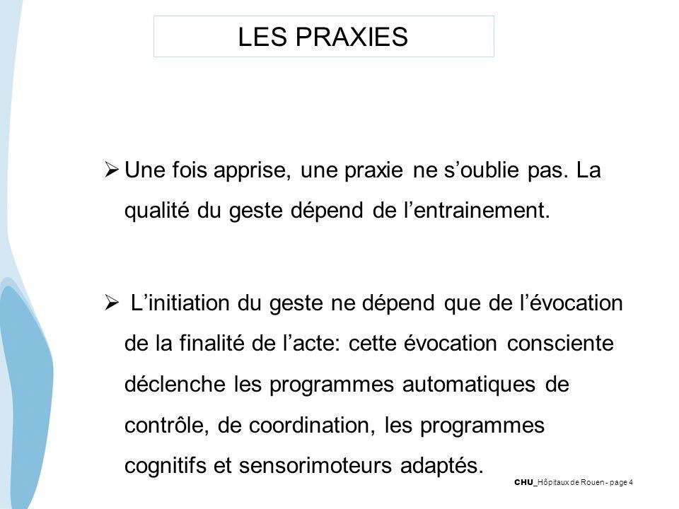 CHU _Hôpitaux de Rouen - page 4 LES PRAXIES Une fois apprise, une praxie ne soublie pas. La qualité du geste dépend de lentrainement. Linitiation du g