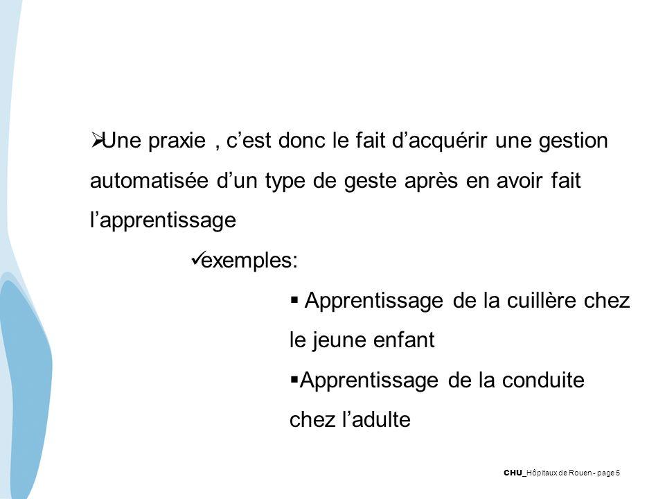 CHU _Hôpitaux de Rouen - page 5 Une praxie, cest donc le fait dacquérir une gestion automatisée dun type de geste après en avoir fait lapprentissage e