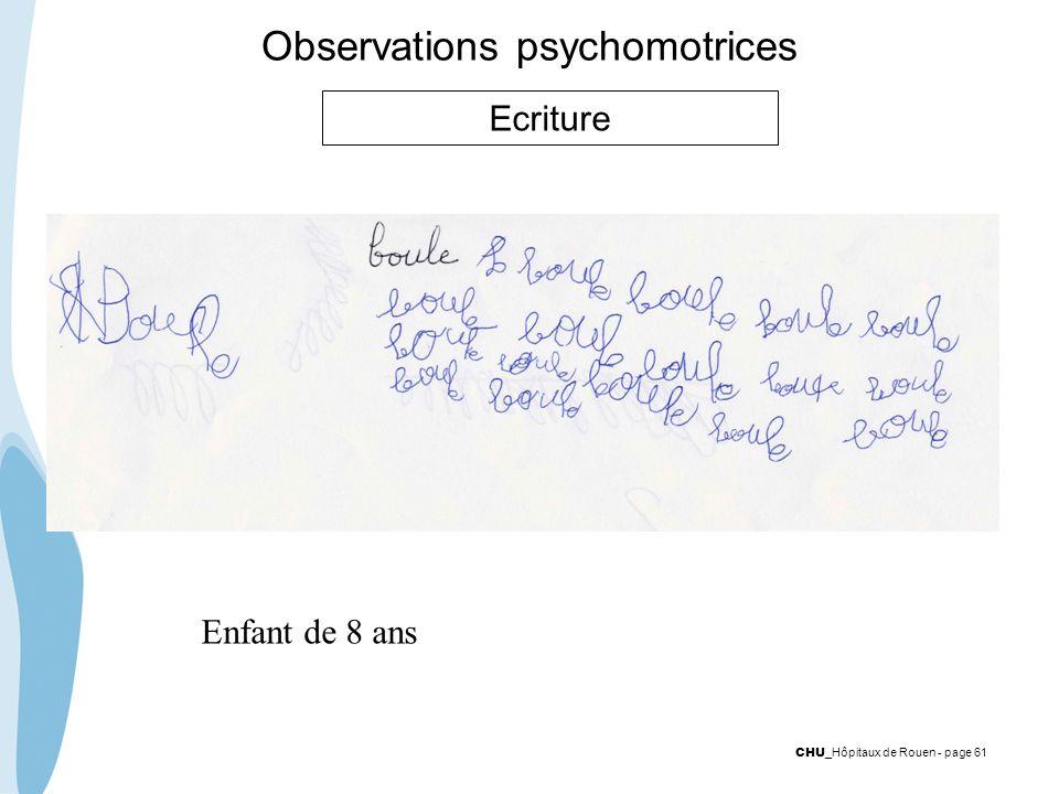 CHU _Hôpitaux de Rouen - page 61 Observations psychomotrices Ecriture Enfant de 8 ans