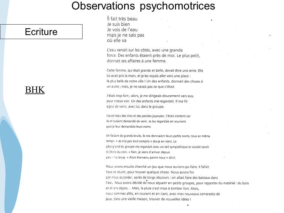 CHU _Hôpitaux de Rouen - page 62 Observations psychomotrices Ecriture BHK