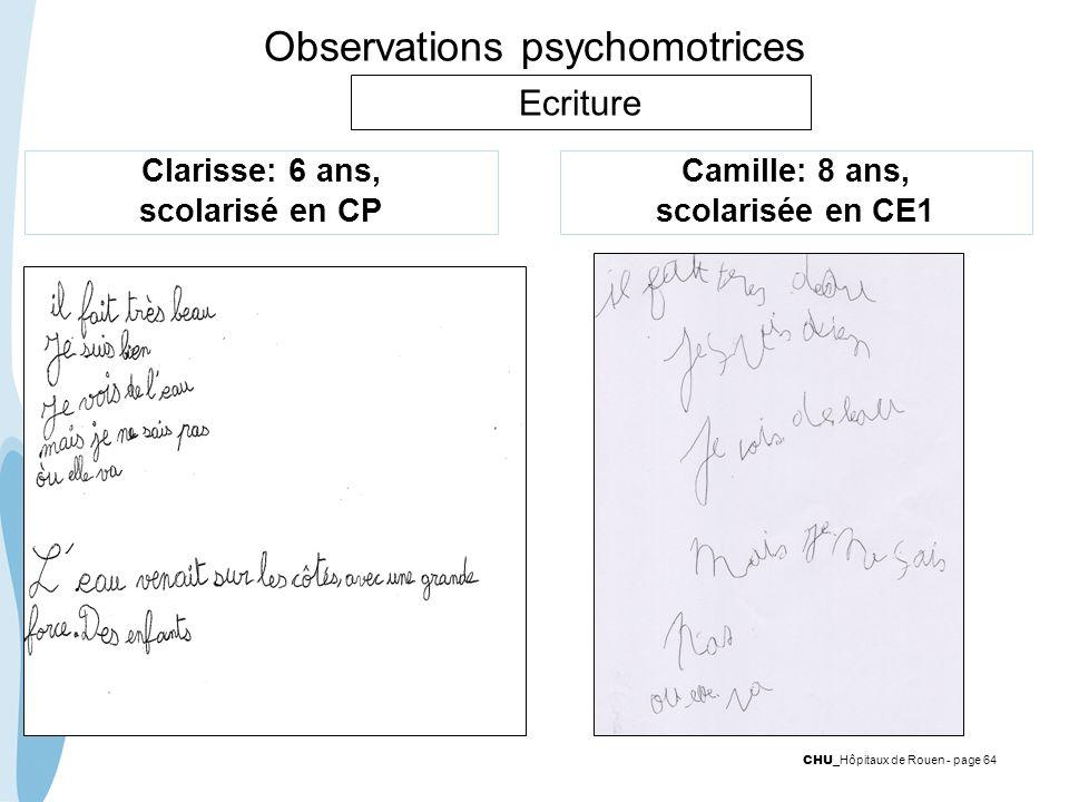 CHU _Hôpitaux de Rouen - page 64 Observations psychomotrices Clarisse: 6 ans, scolarisé en CP Camille: 8 ans, scolarisée en CE1 Ecriture