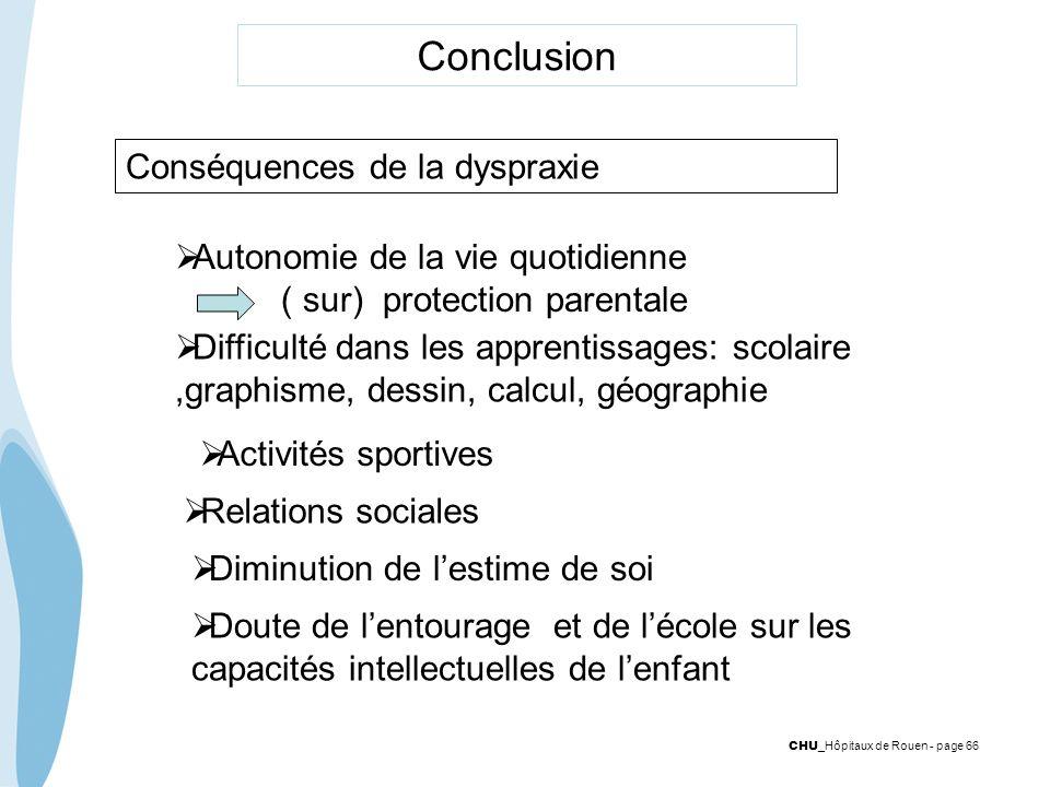 CHU _Hôpitaux de Rouen - page 66 Conclusion Conséquences de la dyspraxie Autonomie de la vie quotidienne ( sur) protection parentale Difficulté dans l