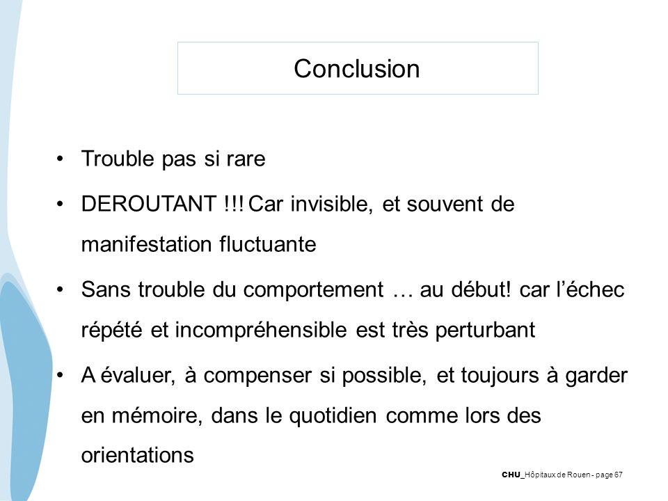 CHU _Hôpitaux de Rouen - page 67 Conclusion Trouble pas si rare DEROUTANT !!! Car invisible, et souvent de manifestation fluctuante Sans trouble du co