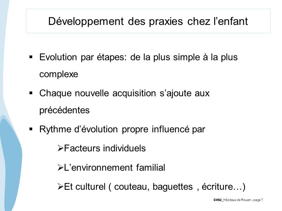 CHU _Hôpitaux de Rouen - page 7 Développement des praxies chez lenfant Evolution par étapes: de la plus simple à la plus complexe Chaque nouvelle acqu