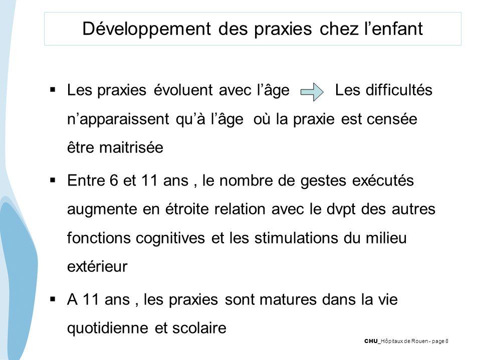 CHU _Hôpitaux de Rouen - page 8 Développement des praxies chez lenfant Les praxies évoluent avec lâge Les difficultés napparaissent quà lâge où la pra