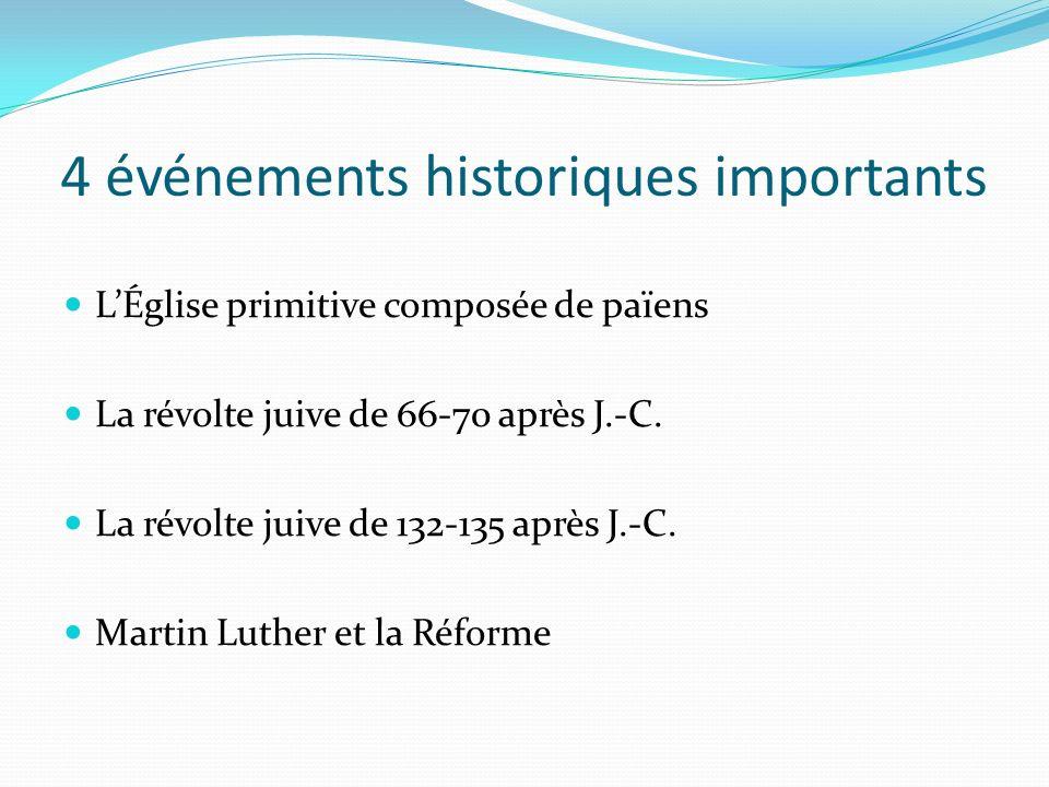 4 événements historiques importants LÉglise primitive composée de païens La révolte juive de 66-70 après J.-C. La révolte juive de 132-135 après J.-C.
