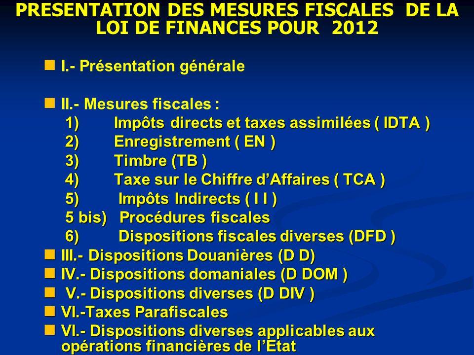 I.- Présentation générale II.- Mesures fiscales : 1) Impôts directs et taxes assimilées ( IDTA ) 1) Impôts directs et taxes assimilées ( IDTA ) 2) Enr