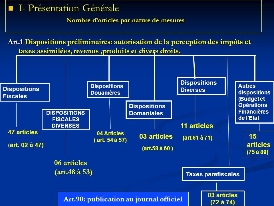 I- Présentation Générale I- Présentation Générale Nombre darticles par nature de mesures Nombre darticles par nature de mesures Art.1 Dispositions pré