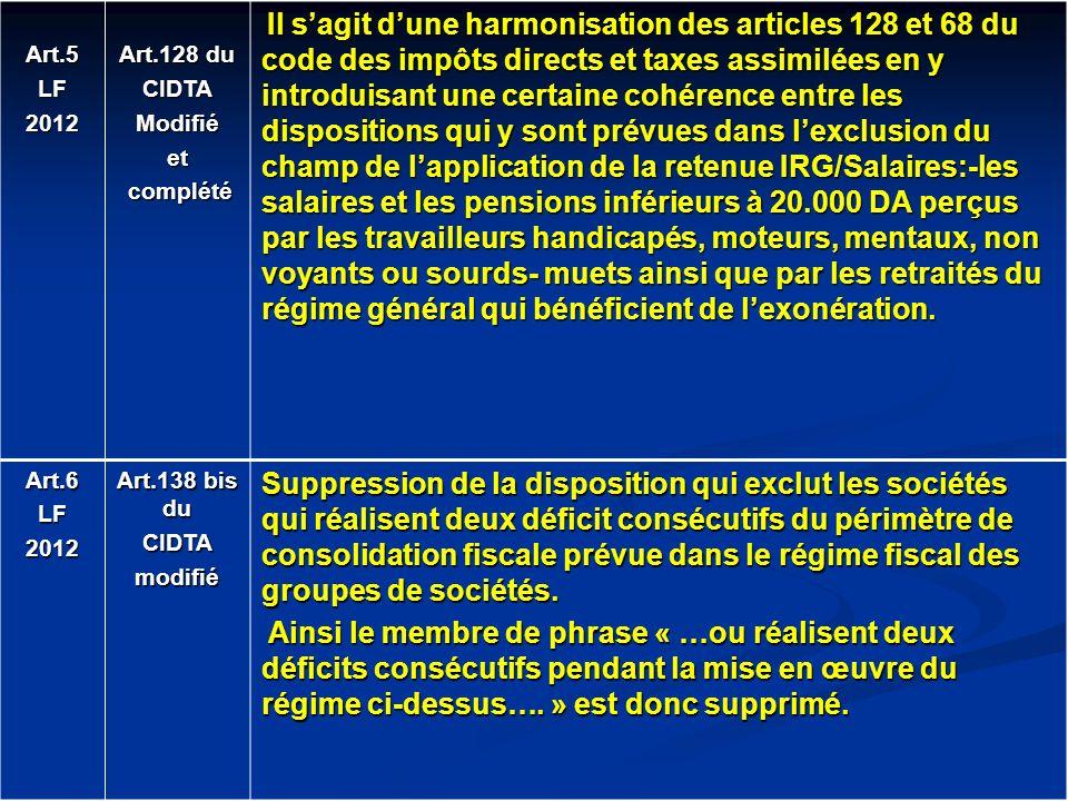 Art.5LF2012 Art.128 du CIDTAModifiéet complété complété Il sagit dune harmonisation des articles 128 et 68 du code des impôts directs et taxes assimil