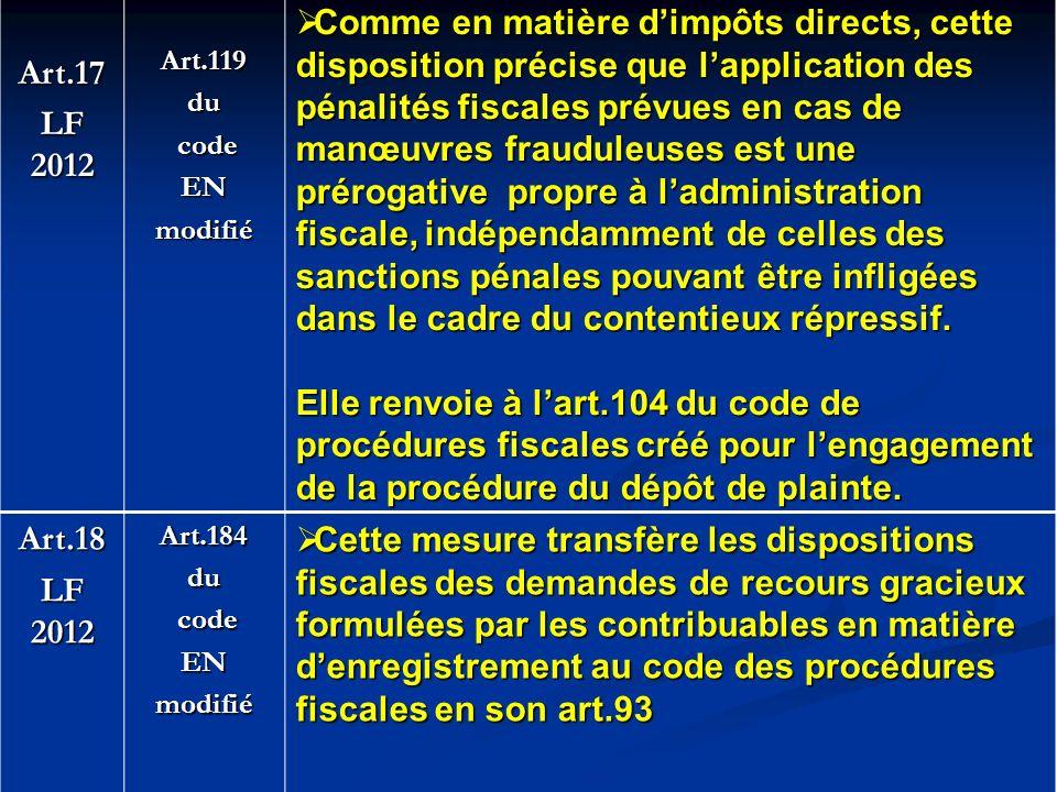 Art.17 LF 2012 Art.119du code codeENmodifié Comme en matière dimpôts directs, cette disposition précise que lapplication des pénalités fiscales prévue