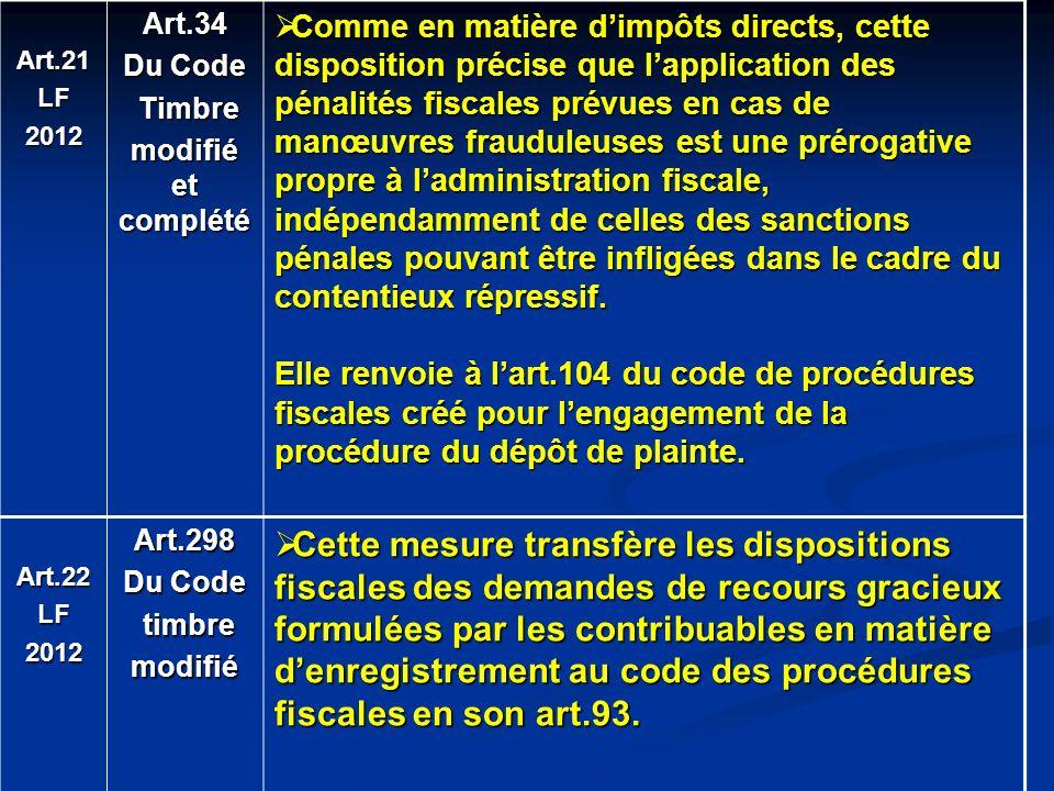 Art.21LF2012Art.34 Du Code Timbre Timbre modifié et complété Comme en matière dimpôts directs, cette disposition précise que lapplication des pénalité