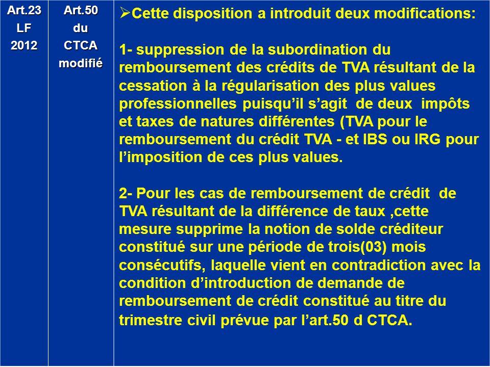 Art.23LF2012Art.50duCTCAmodifié Cette disposition a introduit deux modifications: 1- suppression de la subordination du remboursement des crédits de T
