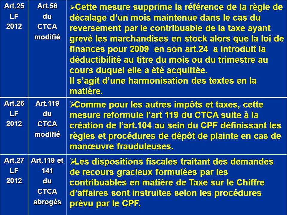 Art.25LF2012Art.58duCTCAmodifié Cette mesure supprime la référence de la règle de décalage dun mois maintenue dans le cas du reversement par le contri