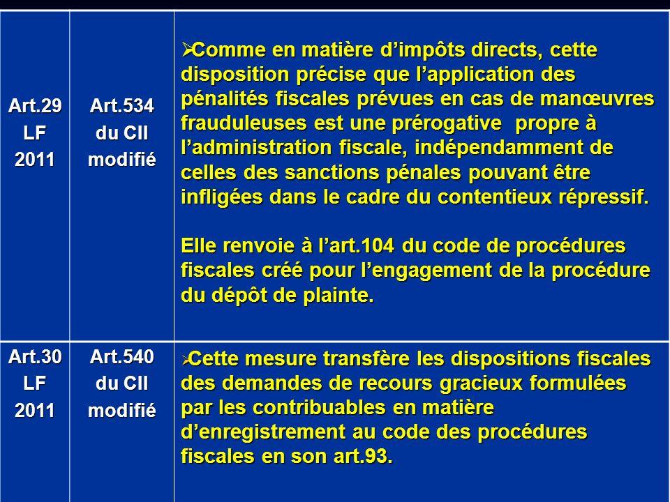 Art.29LF2011Art.534 du CII modifié Comme en matière dimpôts directs, cette disposition précise que lapplication des pénalités fiscales prévues en cas