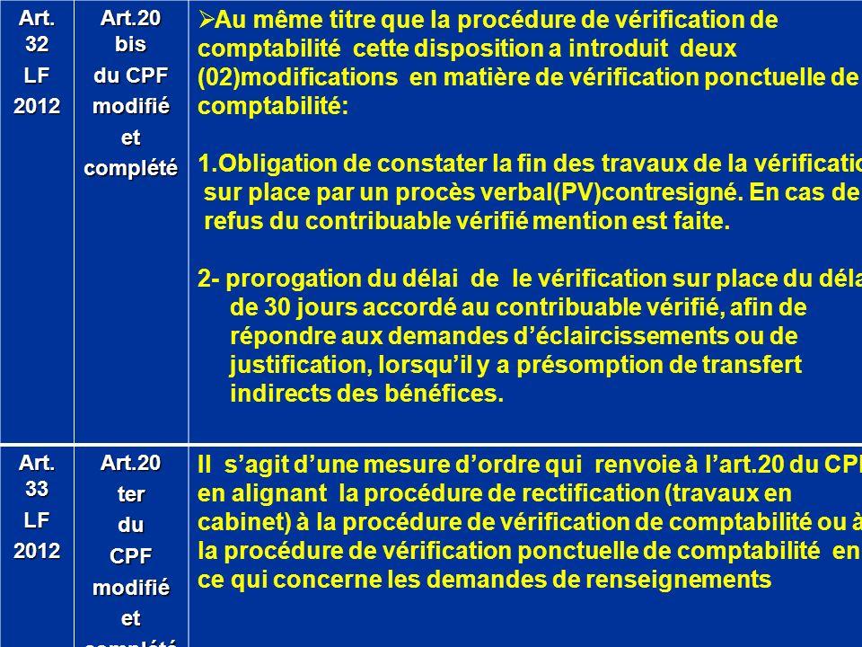 Art. 32 LF2012 Art.20 bis du CPF modifiéetcomplété Au même titre que la procédure de vérification de comptabilité cette disposition a introduit deux (