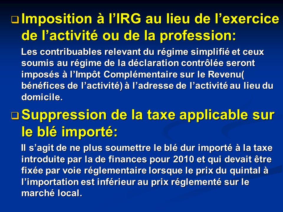 Suppression de la taxe de domiciliation bancaire de 3% sur les opérations de réassurance: cette mesure vise à réduire la charge sur la compagnie dassurance de droit algérien qui partage le risque en recourant à la réassurance internationale.