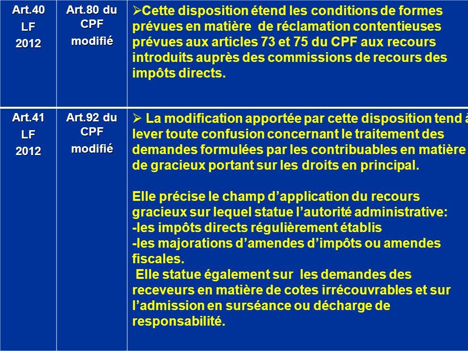 Art.40LF2012 Art.80 du CPF modifié Cette disposition étend les conditions de formes prévues en matière de réclamation contentieuses prévues aux articl