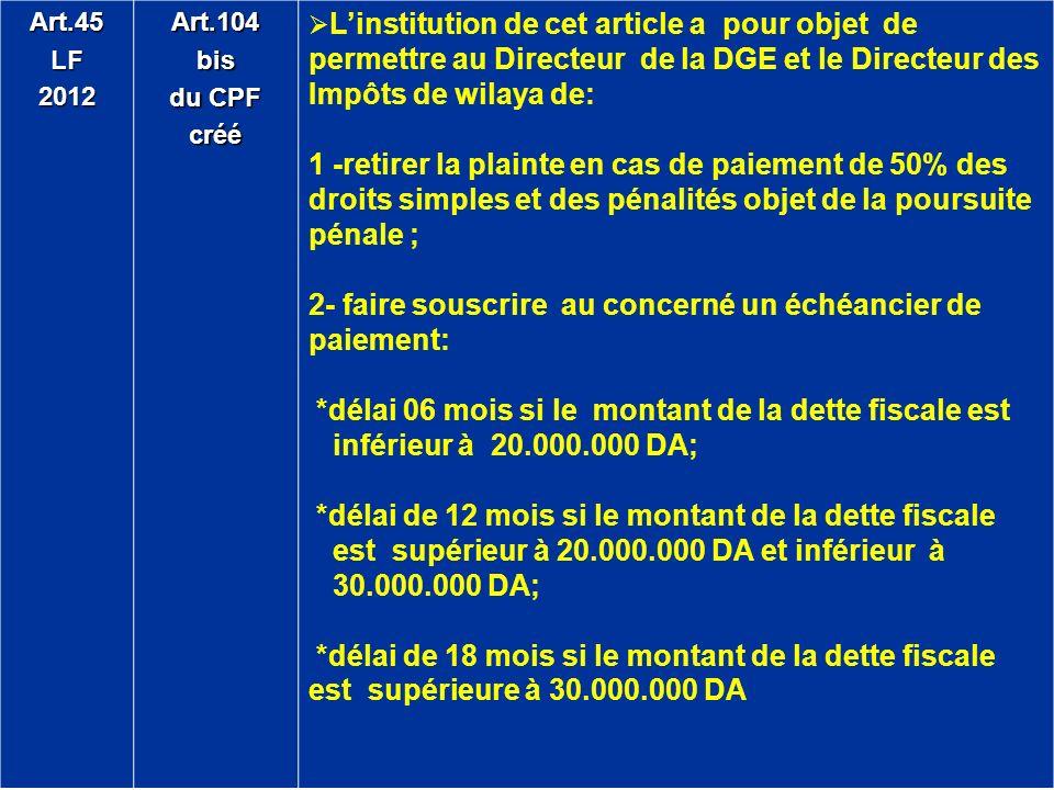Art.45LF2012Art.104bis du CPF créé Linstitution de cet article a pour objet de permettre au Directeur de la DGE et le Directeur des Impôts de wilaya d