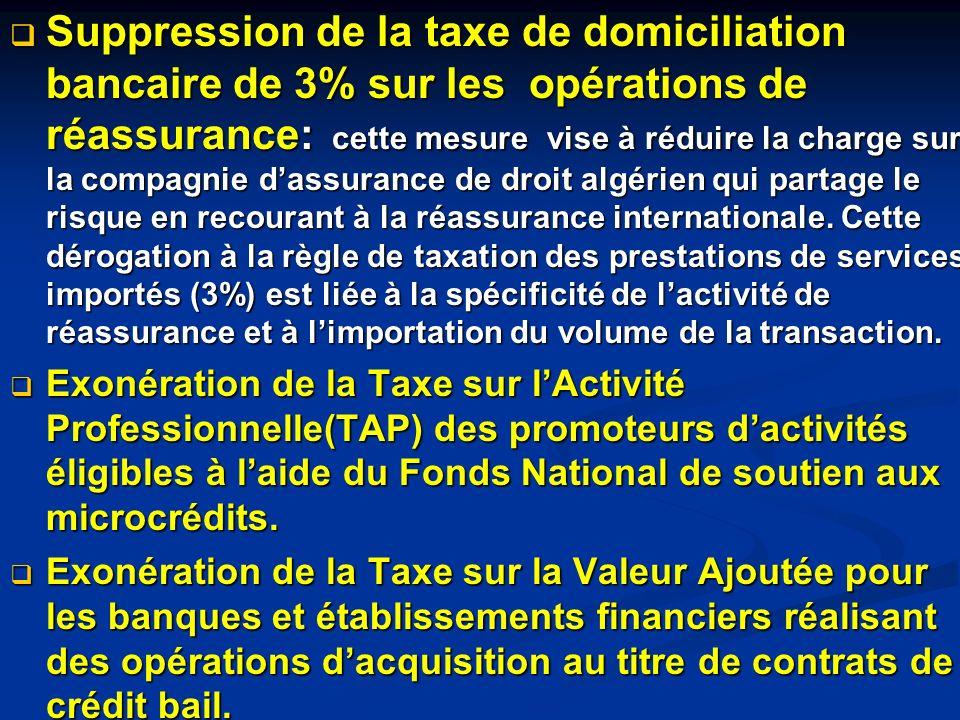 Suppression de la taxe de domiciliation bancaire de 3% sur les opérations de réassurance: cette mesure vise à réduire la charge sur la compagnie dassu