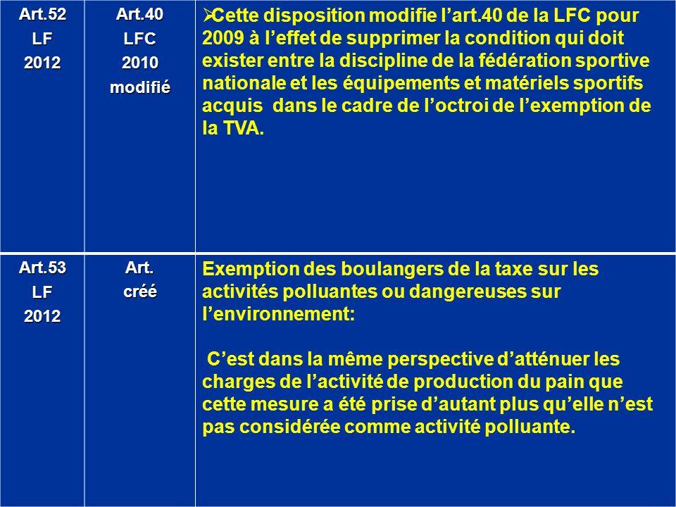 Art.52LF2012Art.40LFC2010modifié Cette disposition modifie lart.40 de la LFC pour 2009 à leffet de supprimer la condition qui doit exister entre la di