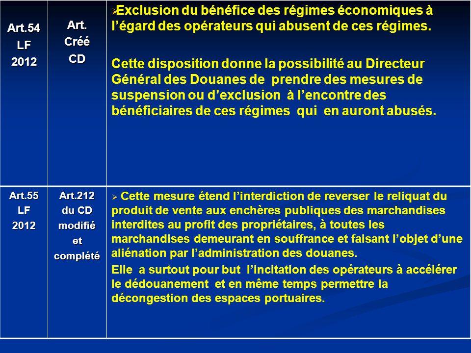 Art.54LF2012Art.CrééCD Exclusion du bénéfice des régimes économiques à légard des opérateurs qui abusent de ces régimes. Cette disposition donne la po