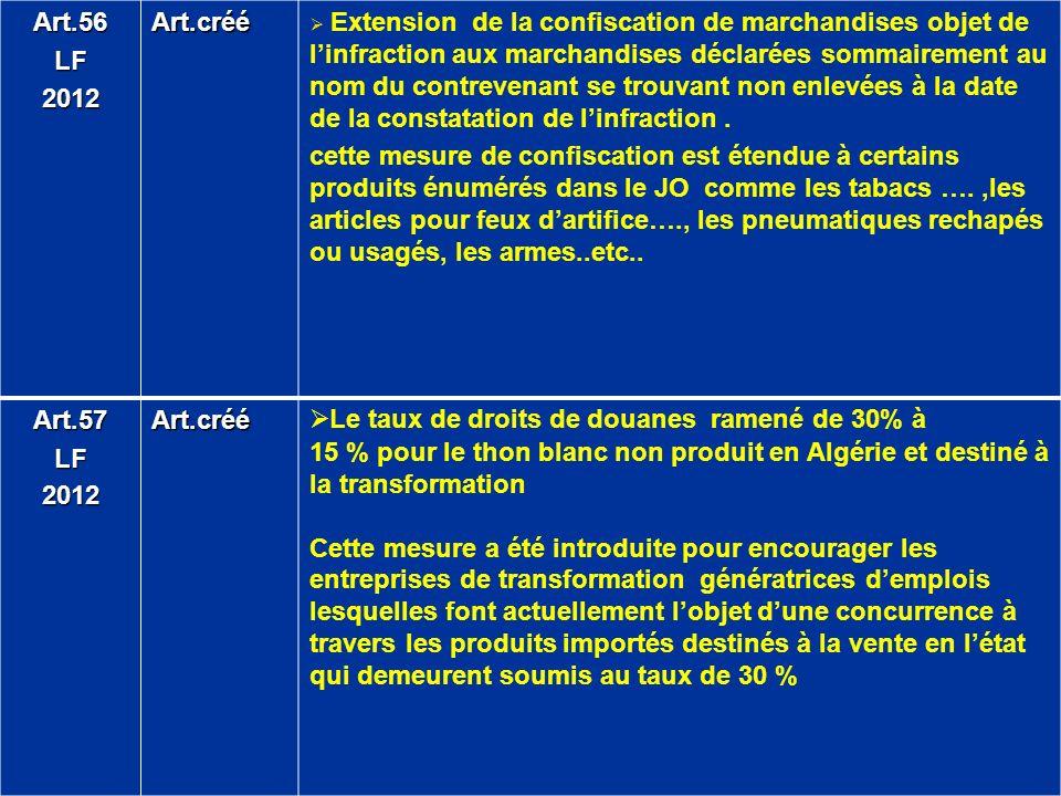 Art.56LF2012Art.créé Extension de la confiscation de marchandises objet de linfraction aux marchandises déclarées sommairement au nom du contrevenant