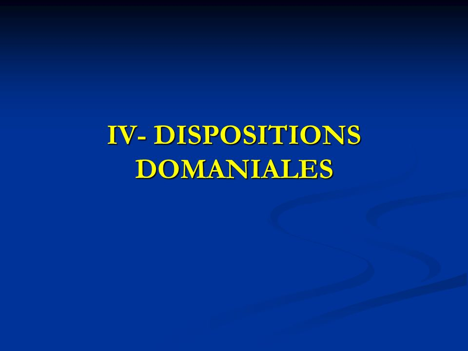 IV- DISPOSITIONS DOMANIALES