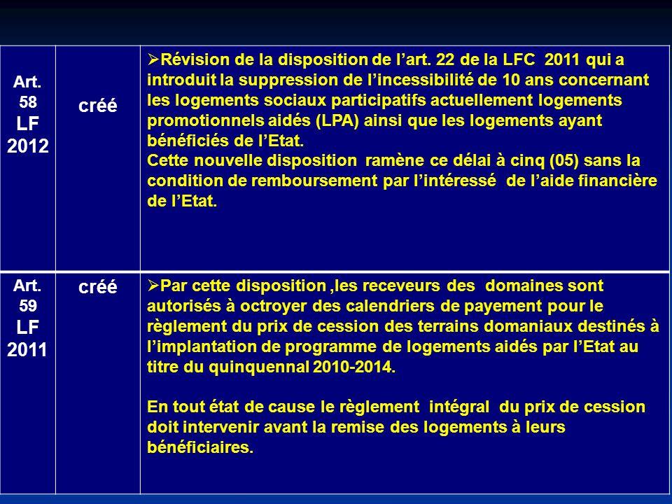 Art. 58 LF 2012 créé Révision de la disposition de lart. 22 de la LFC 2011 qui a introduit la suppression de lincessibilité de 10 ans concernant les l
