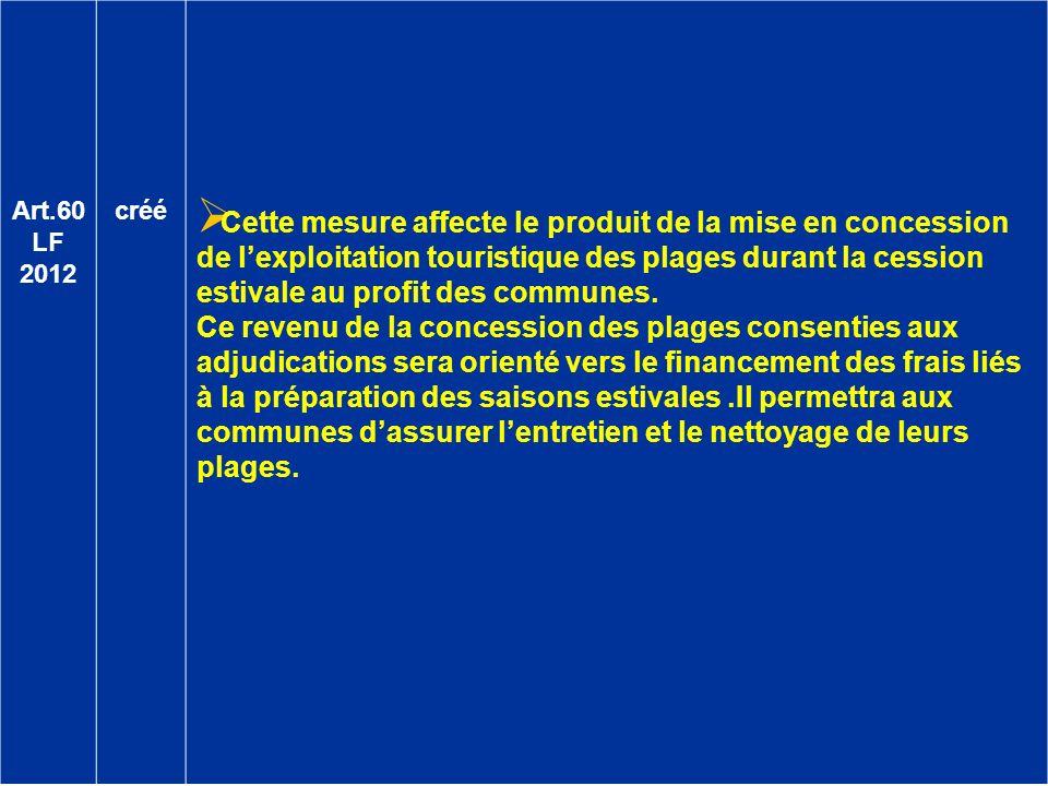 Art.60 LF 2012 créé Cette mesure affecte le produit de la mise en concession de lexploitation touristique des plages durant la cession estivale au pro