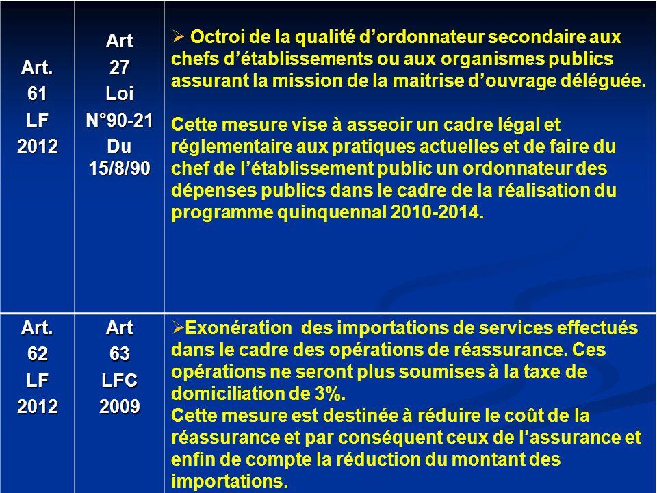 Art.61LF2012Art27LoiN°90-21 Du 15/8/90 Octroi de la qualité dordonnateur secondaire aux chefs détablissements ou aux organismes publics assurant la mi