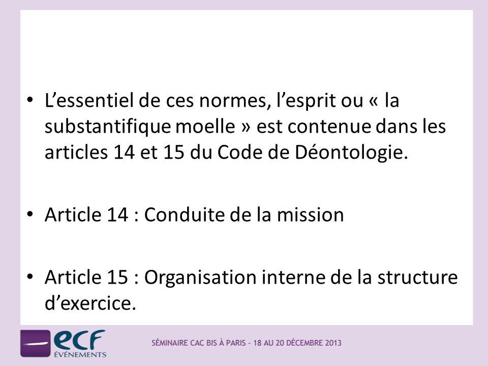 Lessentiel de ces normes, lesprit ou « la substantifique moelle » est contenue dans les articles 14 et 15 du Code de Déontologie. Article 14 : Conduit