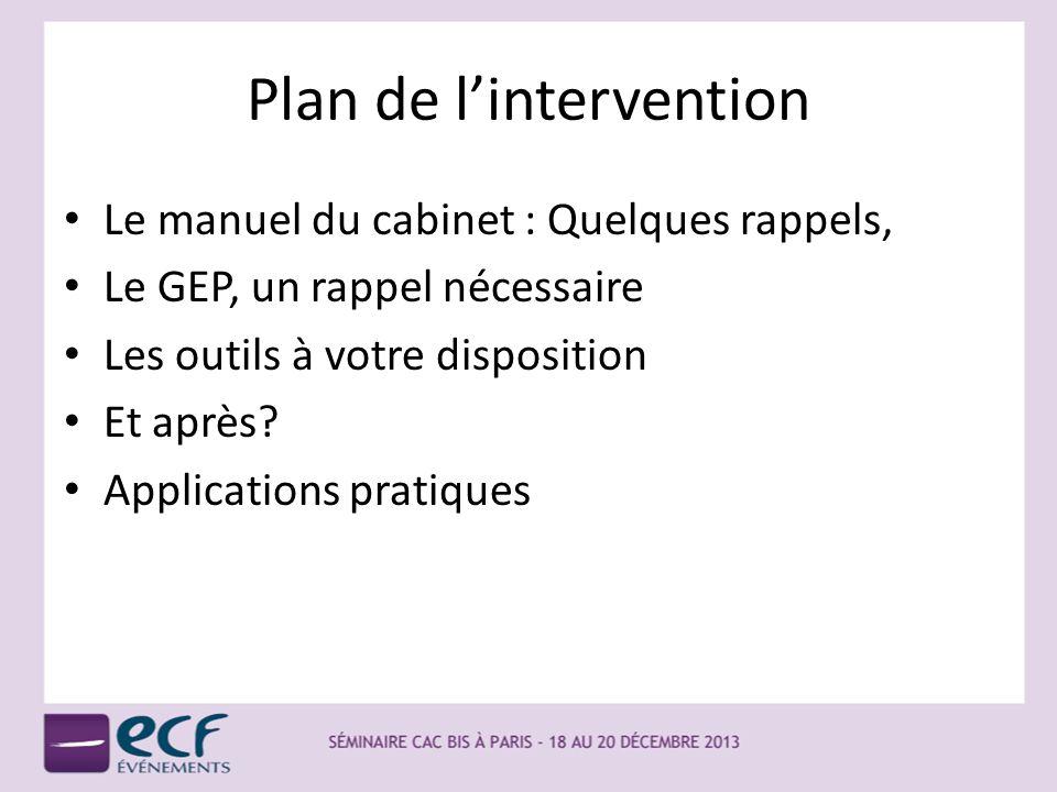 Plan de lintervention Le manuel du cabinet : Quelques rappels, Le GEP, un rappel nécessaire Les outils à votre disposition Et après? Applications prat