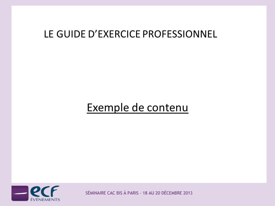 LE GUIDE DEXERCICE PROFESSIONNEL Exemple de contenu