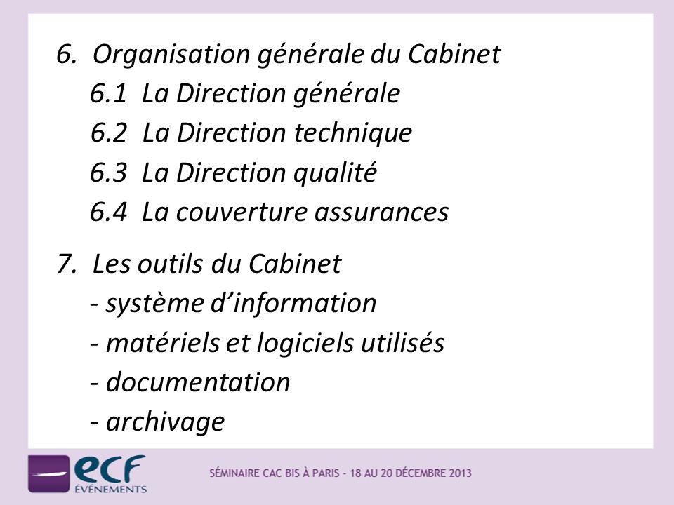 6. Organisation générale du Cabinet 6.1 La Direction générale 6.2 La Direction technique 6.3 La Direction qualité 6.4 La couverture assurances 7. Les