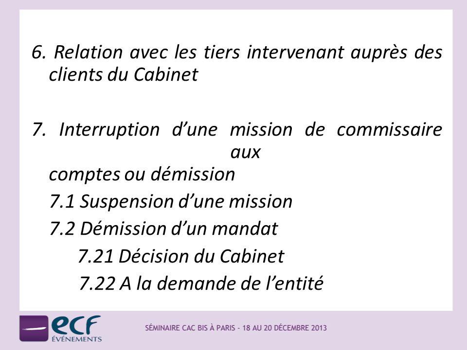 6. Relation avec les tiers intervenant auprès des clients du Cabinet 7. Interruption dune mission de commissaire aux comptes ou démission 7.1 Suspensi