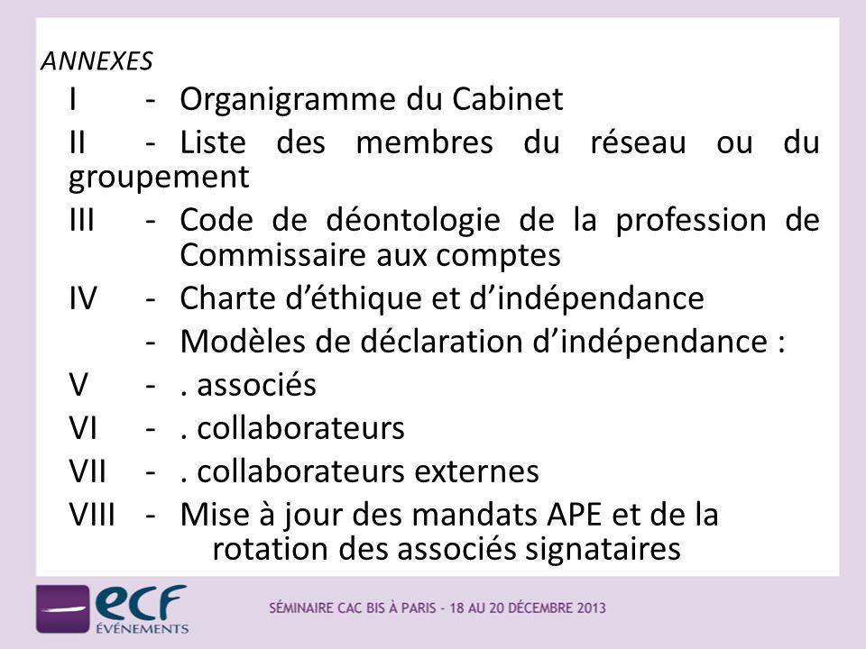 ANNEXES I-Organigramme du Cabinet II-Liste des membres du réseau ou du groupement III-Code de déontologie de la profession de Commissaire aux comptes
