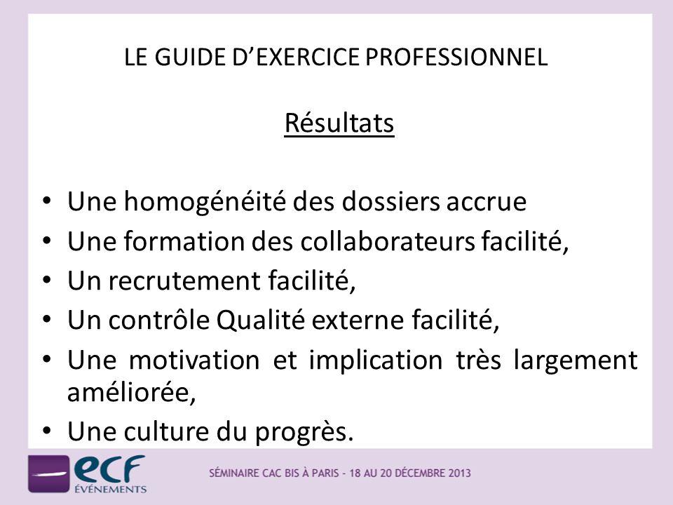 LE GUIDE DEXERCICE PROFESSIONNEL Résultats Une homogénéité des dossiers accrue Une formation des collaborateurs facilité, Un recrutement facilité, Un