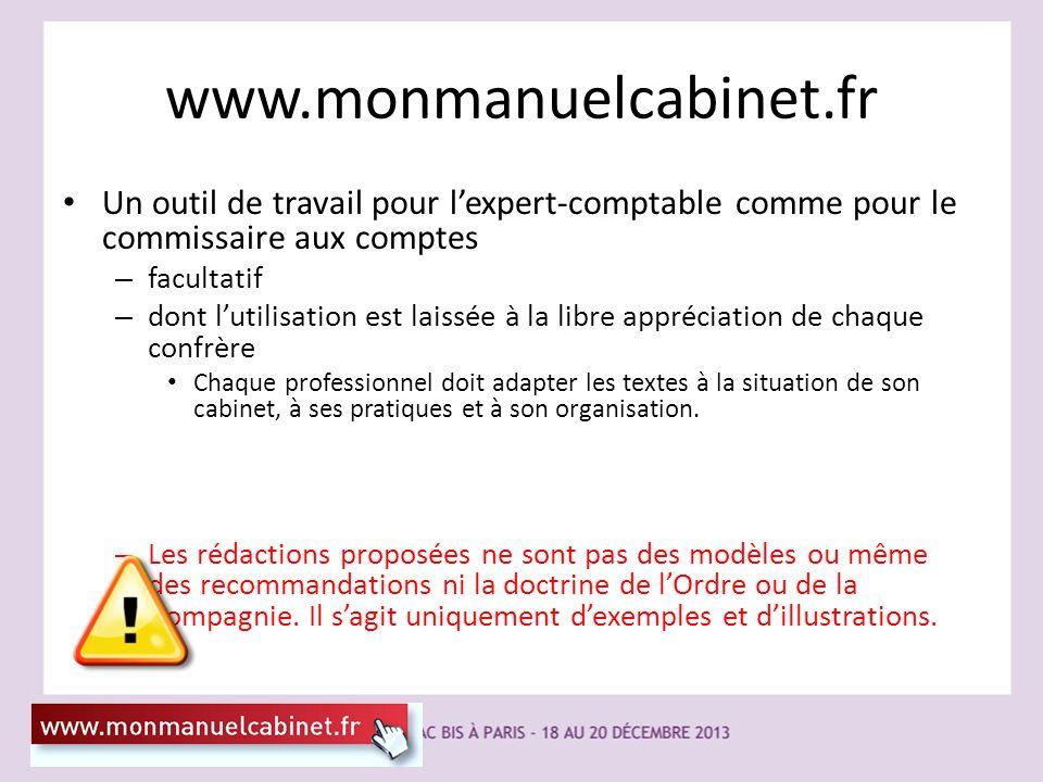 www.monmanuelcabinet.fr Un outil de travail pour lexpert-comptable comme pour le commissaire aux comptes – facultatif – dont lutilisation est laissée
