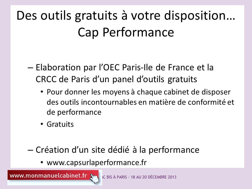 Des outils gratuits à votre disposition… Cap Performance – Elaboration par lOEC Paris-Ile de France et la CRCC de Paris dun panel doutils gratuits Pou