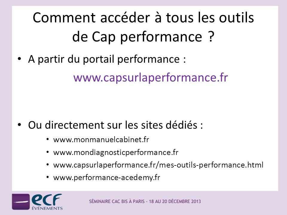 Comment accéder à tous les outils de Cap performance ? A partir du portail performance : www.capsurlaperformance.fr Ou directement sur les sites dédié